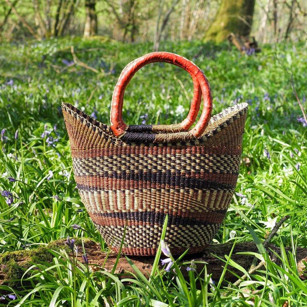 Medium Traditional Shopper Basket - Multi Colour Patterned Design with Leather Handle