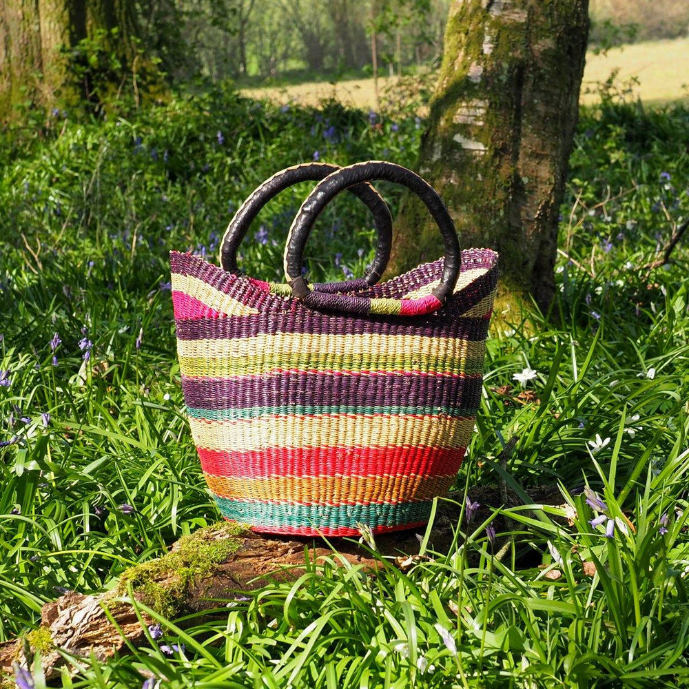 Medium Traditional Shopper Basket - Multi Colour Stripe Design with Leather Handle
