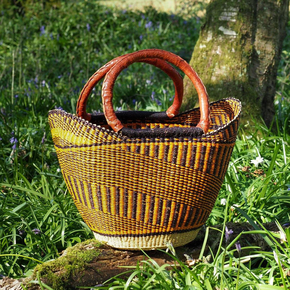 Medium Traditional Shopper Basket - Multi Colour Pattern Design with Leather Handle