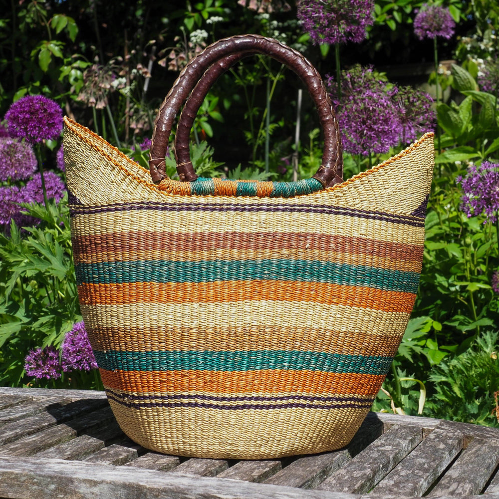 Large Traditional Shopper Basket from Ghana - Multi Colour Stripe Design with Leather Handle