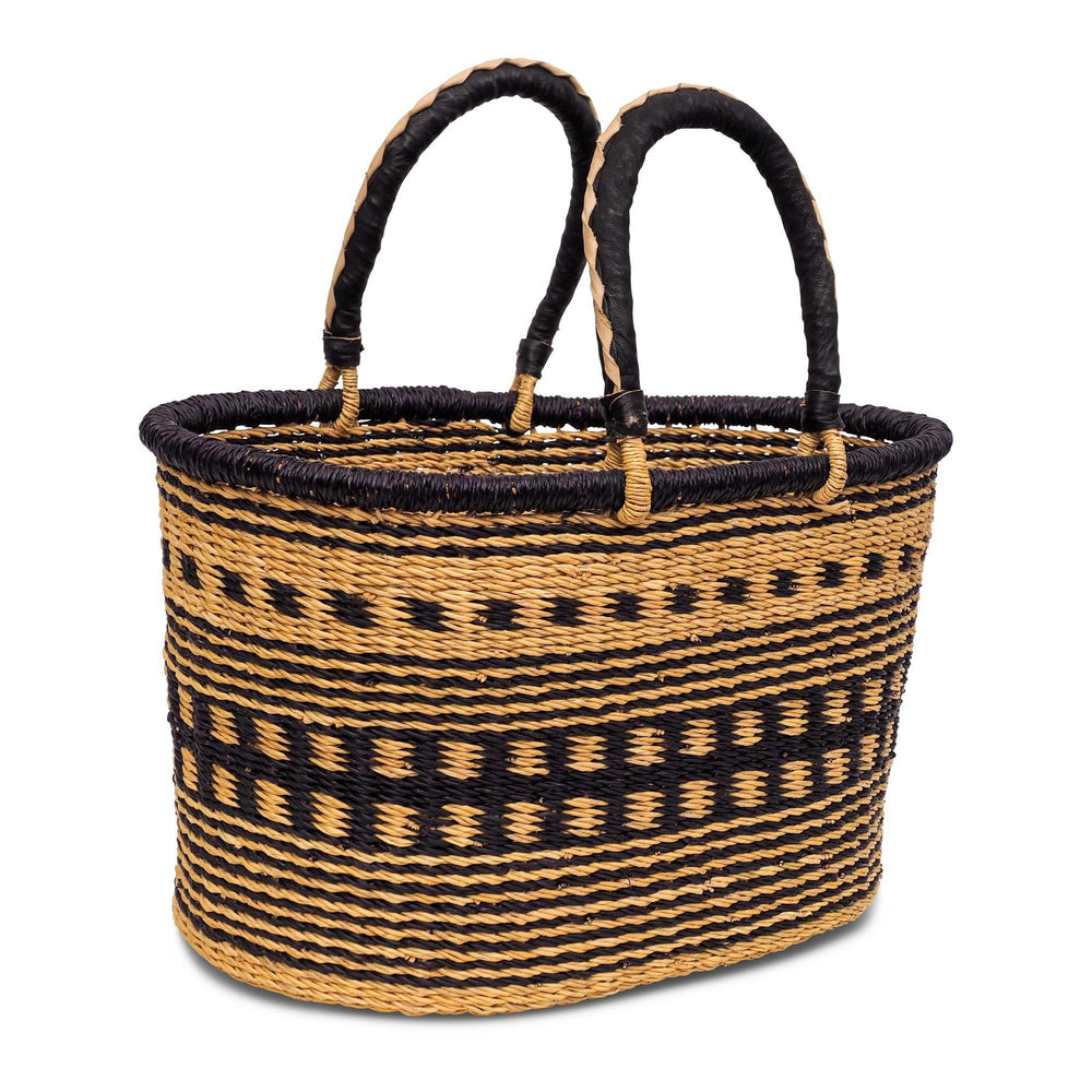 Handwoven Oval Shopping Basket - Natural and Navy Blue