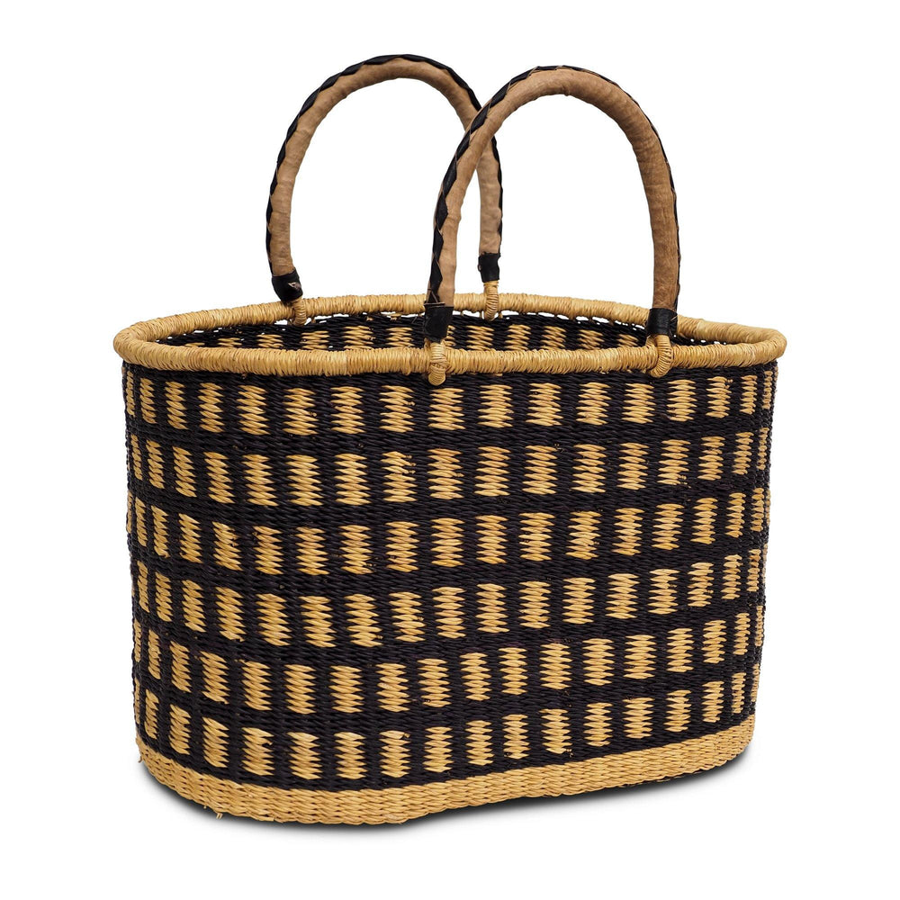 Handwoven Oval Shopping Basket - Natural and Navy (Large)