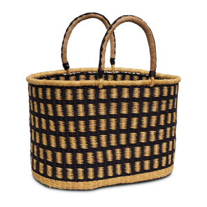 Load image into Gallery viewer, Handwoven Oval Shopping Basket - Natural and Navy (Large)