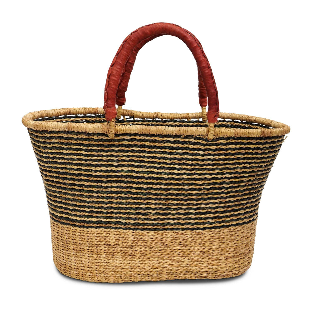 Handwoven Oval Shopping Basket - Natural and Green Stripe
