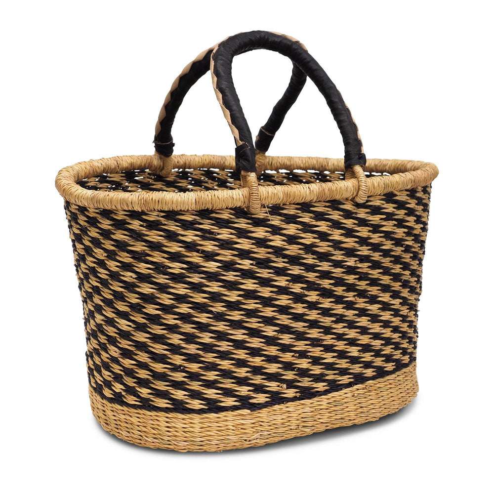 Handwoven Oval Shopping Basket - Navy Blue & Natural Stripe