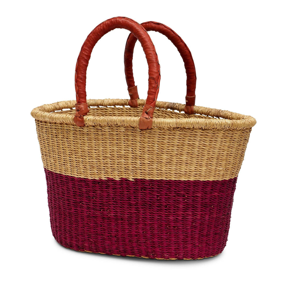 Handwoven Oval Shopping Basket - Pink & Natural