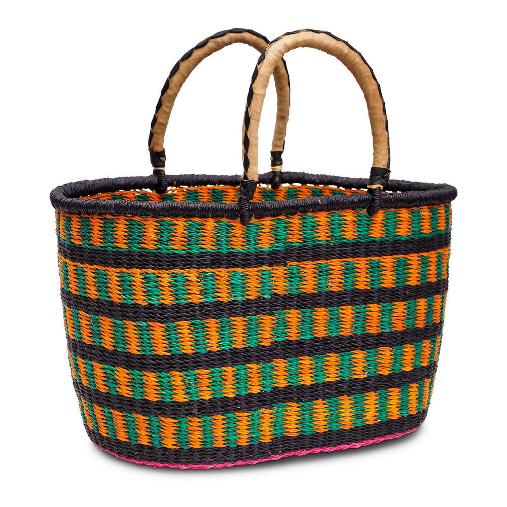 Handwoven Oval Shopping Basket - Green, Orange and Pink