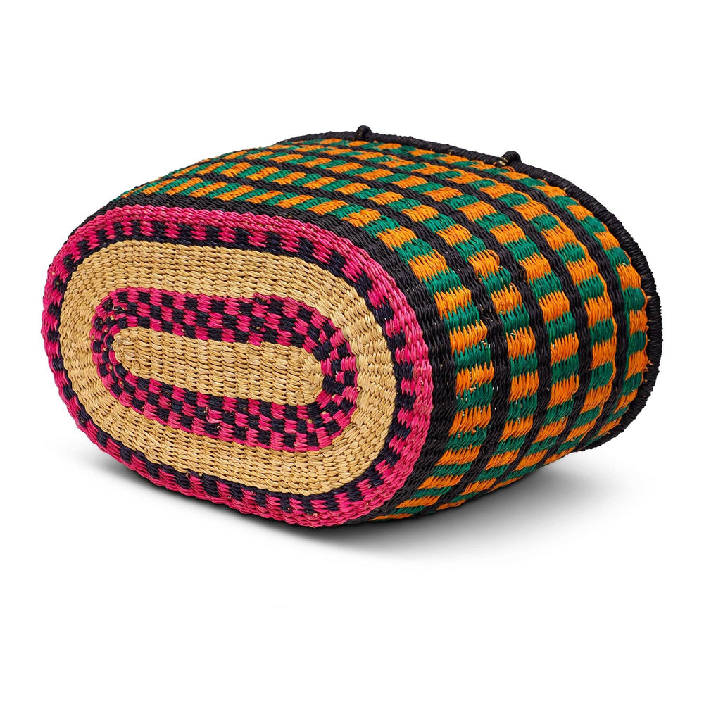 Load image into Gallery viewer, Handwoven Oval Shopping Basket - Green, Orange and Pink