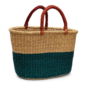 Handwoven Oval Shopping Basket - Green & Natural