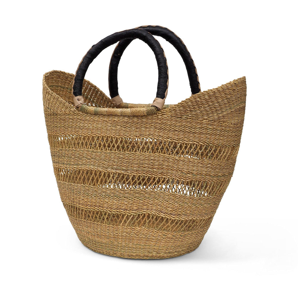 Handwoven Natural Lattice Shopper Basket with Leather Handle