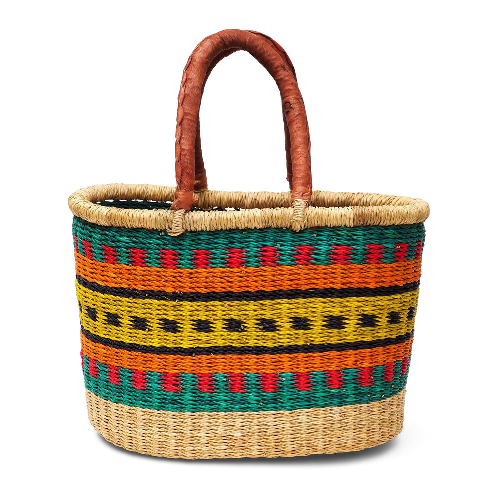 Load image into Gallery viewer, Handwoven Oval Shopping Basket - Multicoloured (Small & Medium)