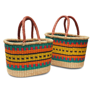 Handwoven Oval Shopping Basket - Multicoloured (Small & Medium)