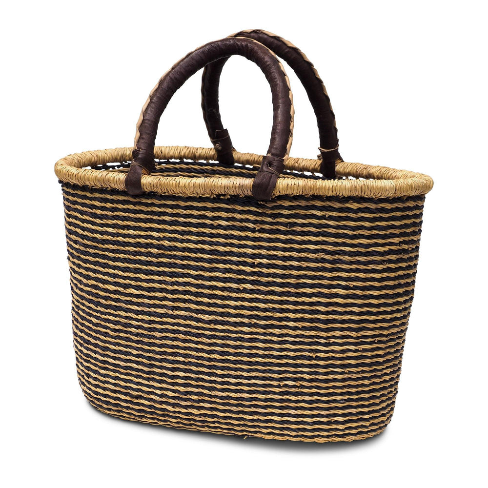 Handwoven Oval Shopping Basket - Natural and Black Lines
