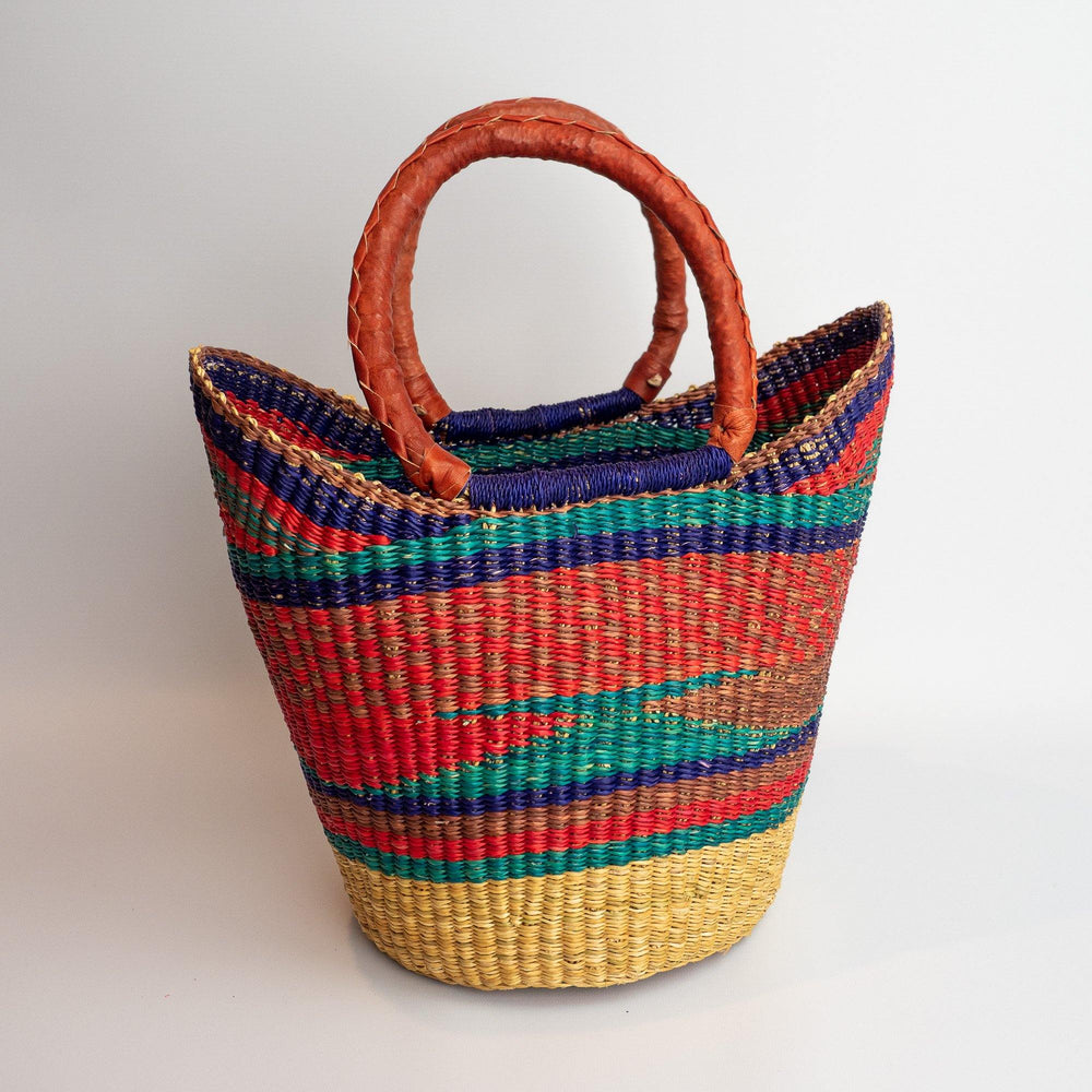 Ghanian Medium Shopper Basket With Leather Handles (Red, Turquoise, Purple)
