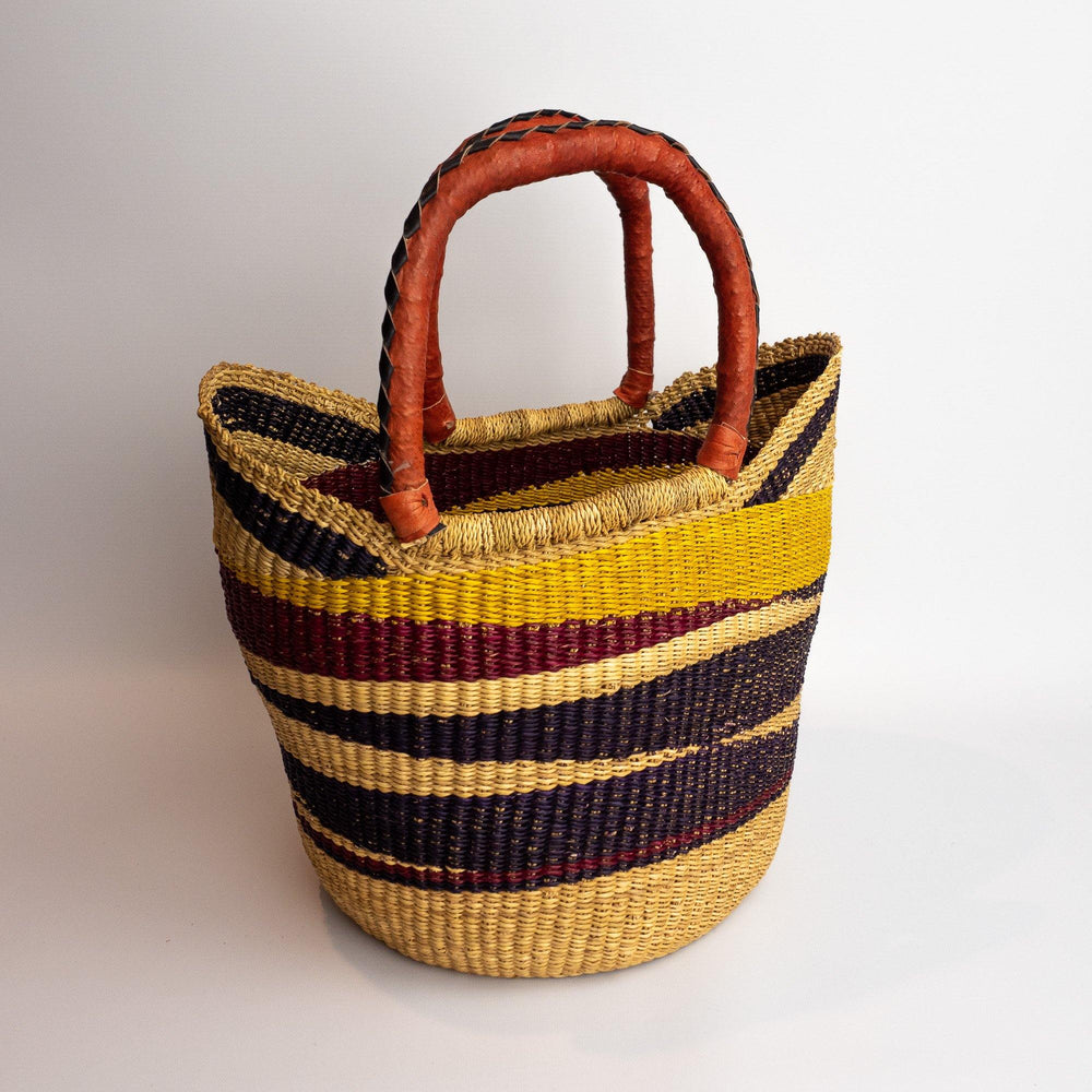 Ghanian Medium Shopper Basket With Leather Handles (Natural, Deep Red and Yellow)
