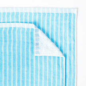 Baby Bath or Beach Towel in Soft Premium Terry Pile - Turquoise Stripe