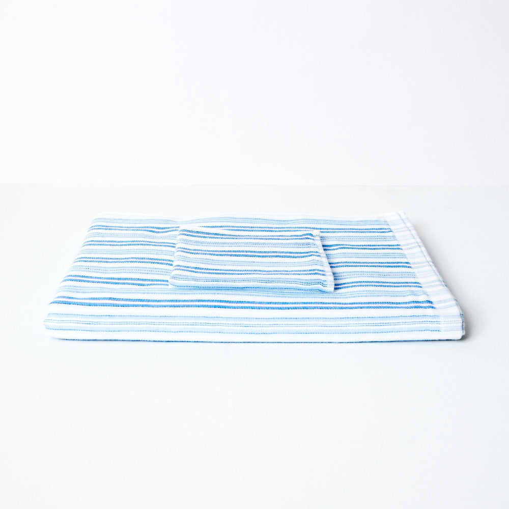 Baby Bath or Beach Towel in Soft Premium Terry Pile - Pale Blue Stripe