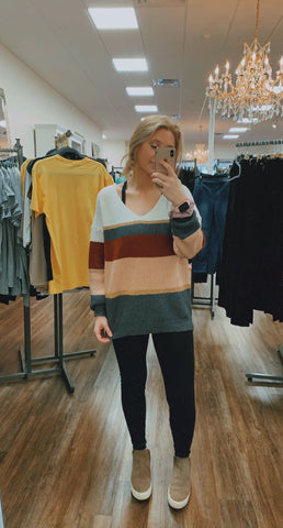 Slinky Striped V-Neck Sweater