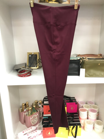 Wine Pull On Leggings