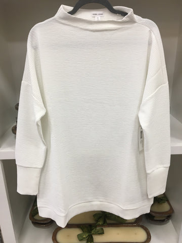 White Funnel Neck Mock Tunic
