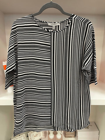 White and Black Stripe Blouse
