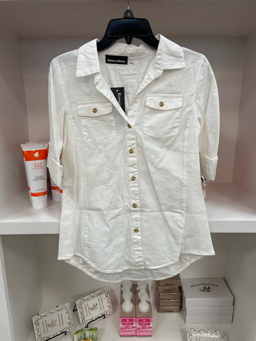 White Button Down Roll Tab Blouse