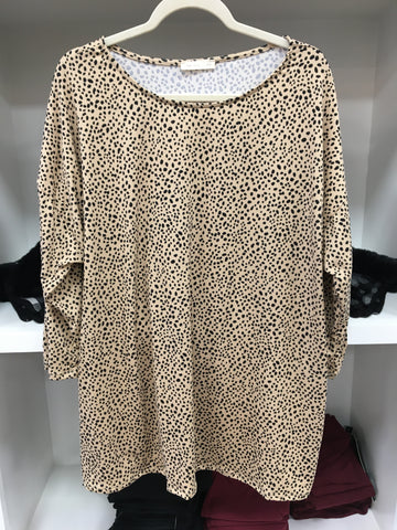 Taupe Leopard 3/4 Top