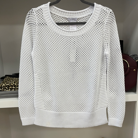 White Long Sleeve Open Stitch Sweater