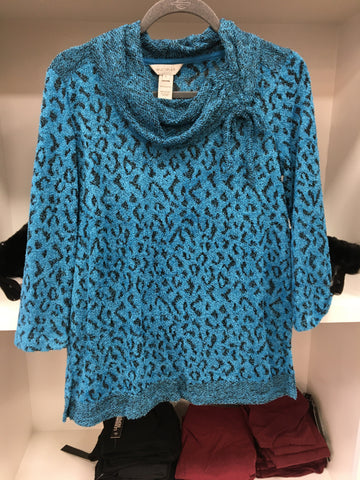 Teal Leopard Drawstring Sweater