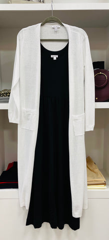 White Long Line Duster