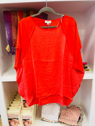 Tomato Red Sheer Sleeve Blouse