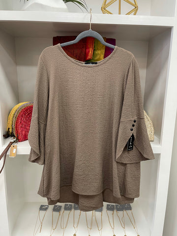 Taupe Belle Sleeve Blouse