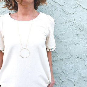 Long Minimalist Necklace - Open Circle