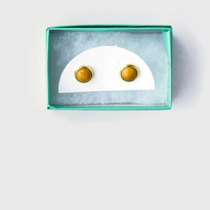 Stone Stud Earrings - Mustard Studs
