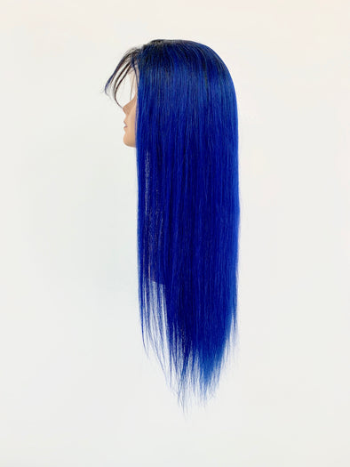 Silky Straight Full Lace Wig - Blue Ombre