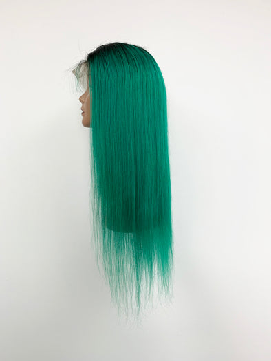 Silky Straight Full Lace Wig - Green Ombre