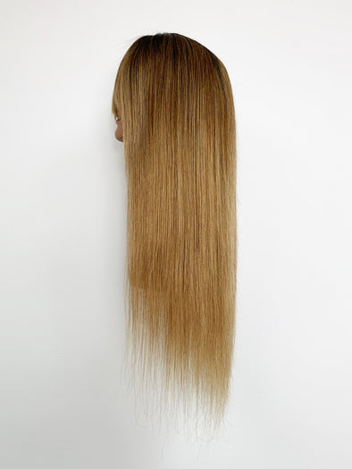 Silky Straight Full Lace Wig - French Bang - Gold Ombre