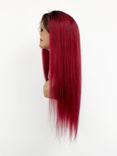 Silky Straight Full Lace Wig - Wine Ombre