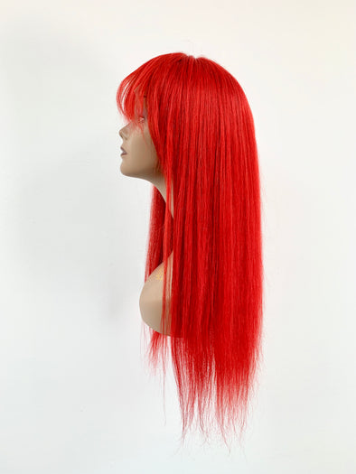 Silky Straight Full Lace Wig - French Bang - Red