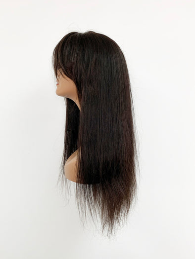 Silky Straight Full Lace Wig - French Bang - Natural