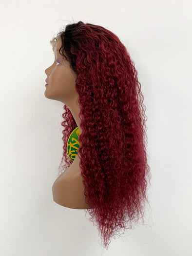 Bohemian Full Lace Wig - Wine Ombre