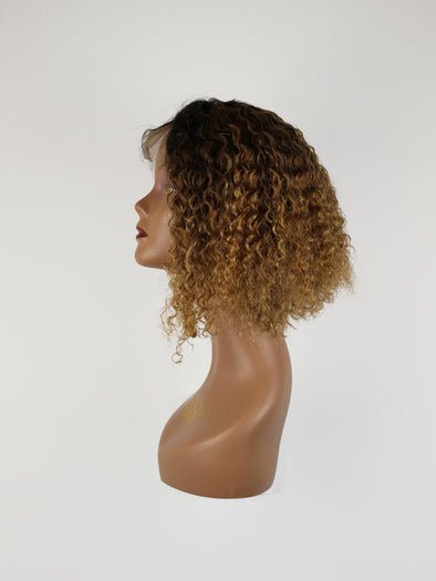 "BOB 12"" Bohemian Curly Full Lace Wig - Gold Ombre"