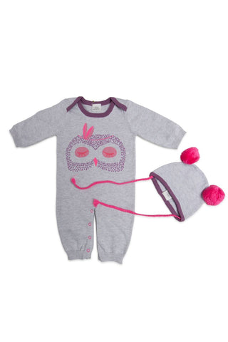 Critter Layette and Pom Pom Hat Set