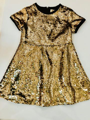 Fit and Flare Gold Sequin Dress