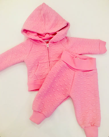 Pink Hearts Quilted Baby Joggers
