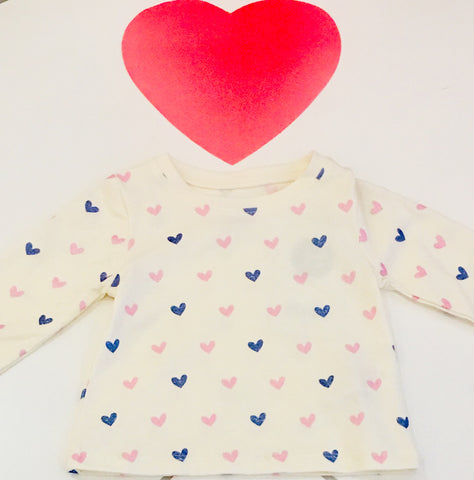 Shimmer Hearts Long Sleeve Baby Tee