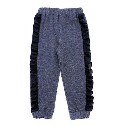 Heather French Terry Joggers with Ruffles