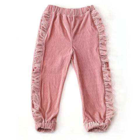 Pink Velvet Joggers with Ruffles