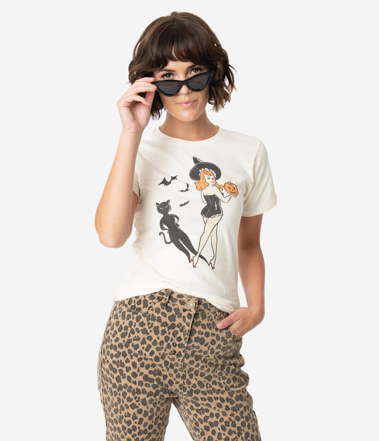 Cream Cotton Trick Or Treat Pin-Up Womens Tee