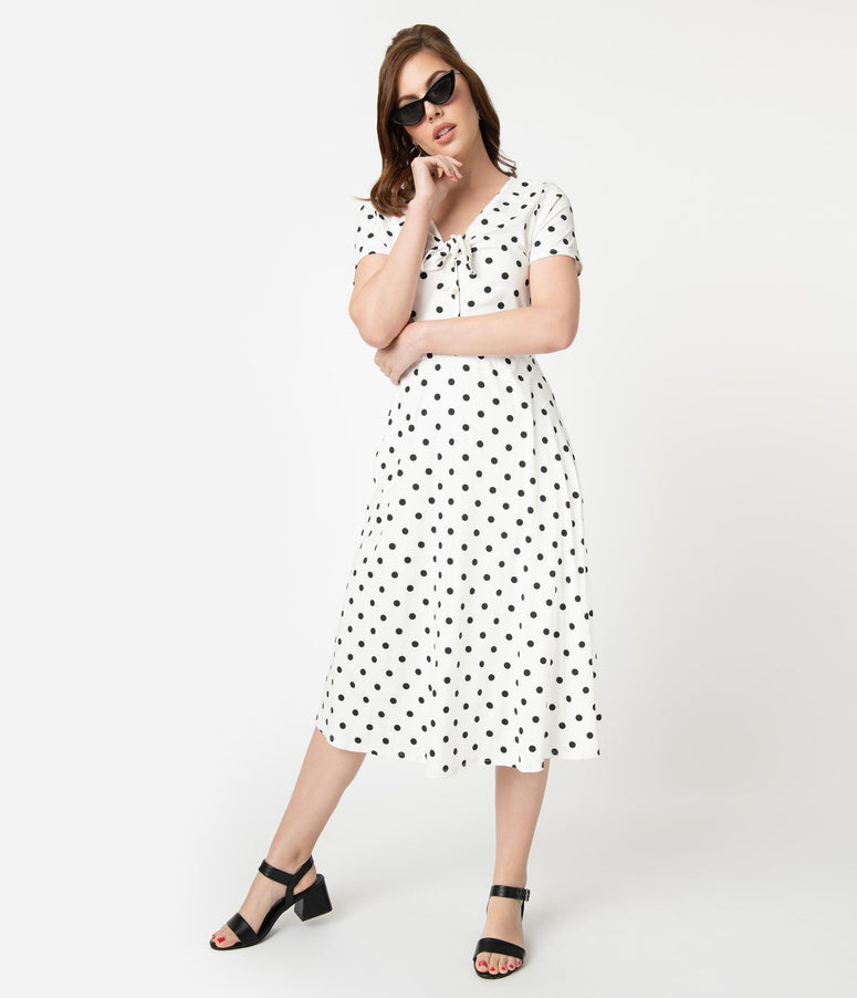 Vintage Style Ivory White & Black Polka Dot Short Sleeved Midi Dress